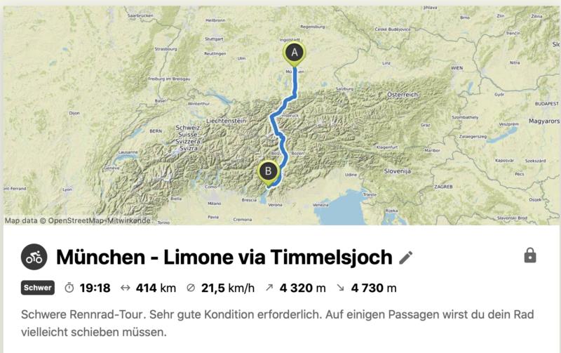 Transalp - Route von München über das Timmelsjoch zum Gardasee